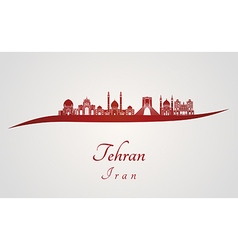 Tehran skyline in red vector