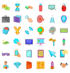 Web marketing icons set cartoon style vector