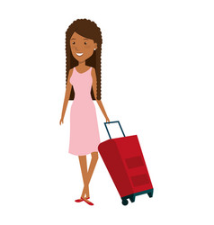 young woman with suitcase avatar character vector image