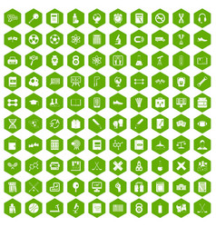 100 college icons hexagon green vector image vector image
