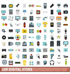 100 digital icons set flat style vector image