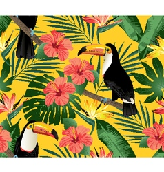Tropical birds and palm leaves vector image