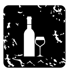 Bottle of wine and glass icon grunge style vector
