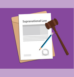 Supranational law agreement stamped with folder vector