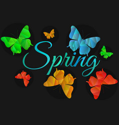 Spring background with butterflies machaons vector