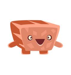 Cute friendly laughing rock element cartoon vector