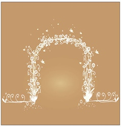 Shaped vine with white flowers vector image