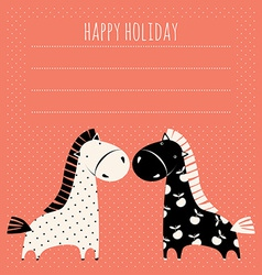 Greeting card with cute pony vector
