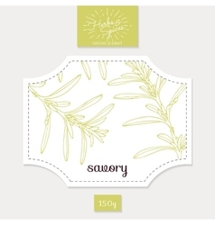 Product sticker with hand drawn savory leaves vector