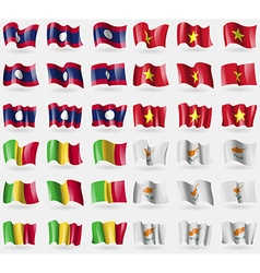 Laos vietnam mali cyprus set of 36 flags of the vector