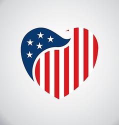 American flag inside heart logo vector image
