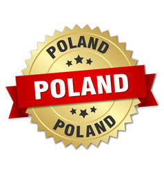 Poland round golden badge with red ribbon vector