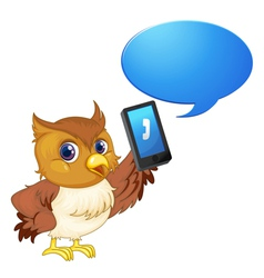 Owl with cell phone vector image