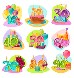 Anniversary candle numbers retro set vector