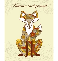 Autumn background with fox vector image vector image