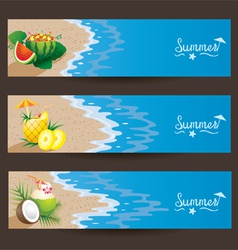 Coconut pineapple watermelon cocktail banner vector