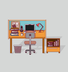 Colorful background home office interior with vector