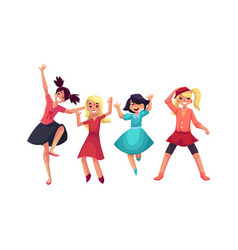 Four girls in colorful clothes having fun dancing vector