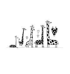 giraffes family sketch for your design vector image