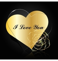 Gold and glass hearts with flower vector