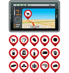 GPS navigator with the pointer supermarket vector image