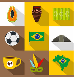 landmarks of brazil icon set flat style vector image