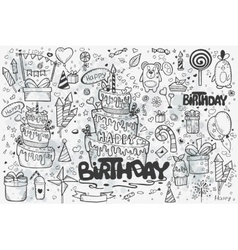 Large set of hand drawn doodles to birthday vector image vector image