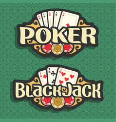 logo poker and blackjack vector image vector image