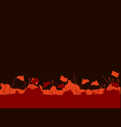 Medieval battlefield after the battle flags vector