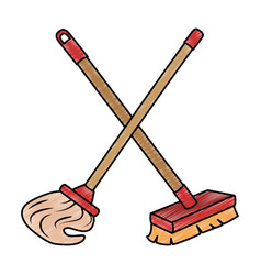 Mop and brush icon vector