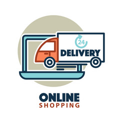Online shopping web icon template computer vector