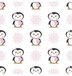 Pattern with penguin and snowflake vector
