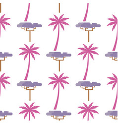 Pink palm and violet exotic tree isolated on white vector