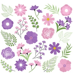 Purple floral set vector