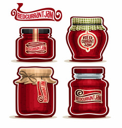 Redcurrant jam in glass jars vector