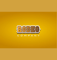 Rodeo western style word text logo design icon vector