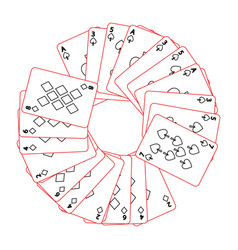 Round frame with poker cards spades and diamond vector