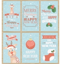 Set of six Christmas greeting cards vector image