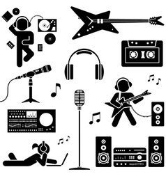 set of various stylized dj icons Pictogram icon vector image
