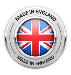 Silver medal Made in England with flag vector image