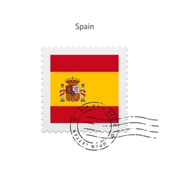 Spain Flag Postage Stamp vector image