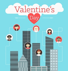 St valentines day greeting card in flat style vector