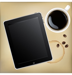 Tablet computer with cup of coffee vector