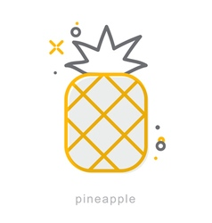 Thin line icons Pineapple vector image