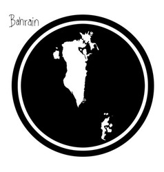 White map of bahrain on black circle vector