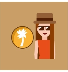 Vacation woman palm coconut summer vector