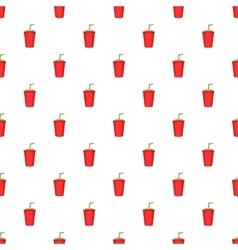 Plastic cup with straw pattern cartoon style vector image