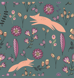 Stylized flowers and foxes on a green background vector