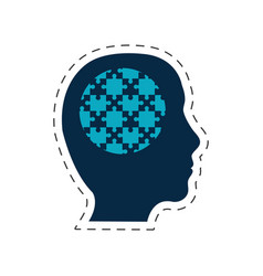 silhouette head puzzle image vector image