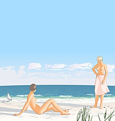 Young women on a sand beach by the sea vector
